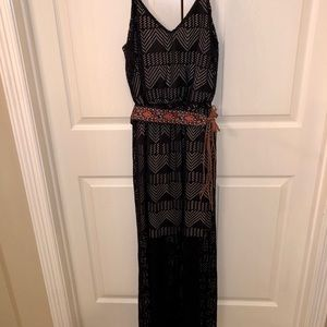 Maurices black and nude belted maxi dress
